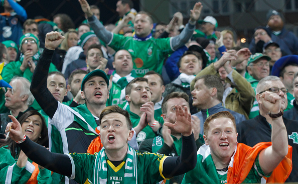 ZENICA, BOSNIA AND HERZEGOVINA - NOVEMBER 13. Ireland fans show their support prior the EURO 2016 Qualifier Play-Off First Leg match at Bilino Polje Stadium on November 13, 2015 in Zenica, Bosnia and Herzegovina. (Photo by Srdjan Stevanovic/Getty Images)