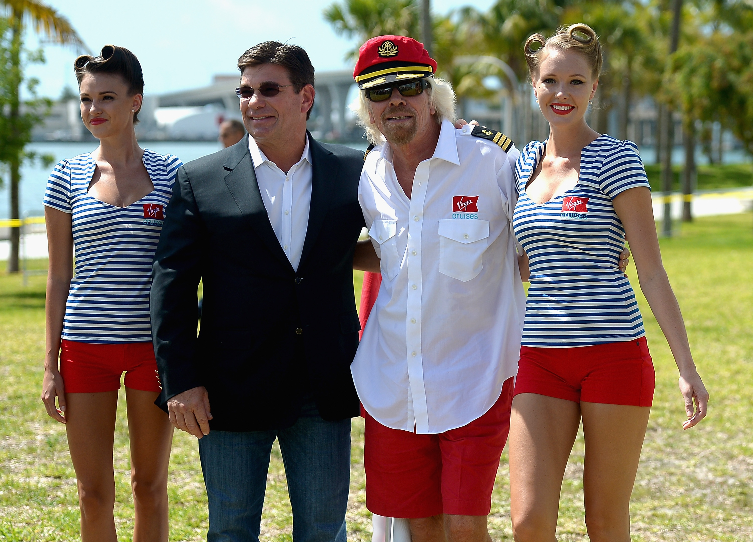 MIAMI, FL - JUNE 23: Tom McAplin and Sir Richard Branson attend a photocall for the announcement that the home port of Virgin Cruises will be in Miami at Perez Art Museum Miami on June 23, 2015 in Miami, Florida. (Photo by Gustavo Caballero/Getty Images)
