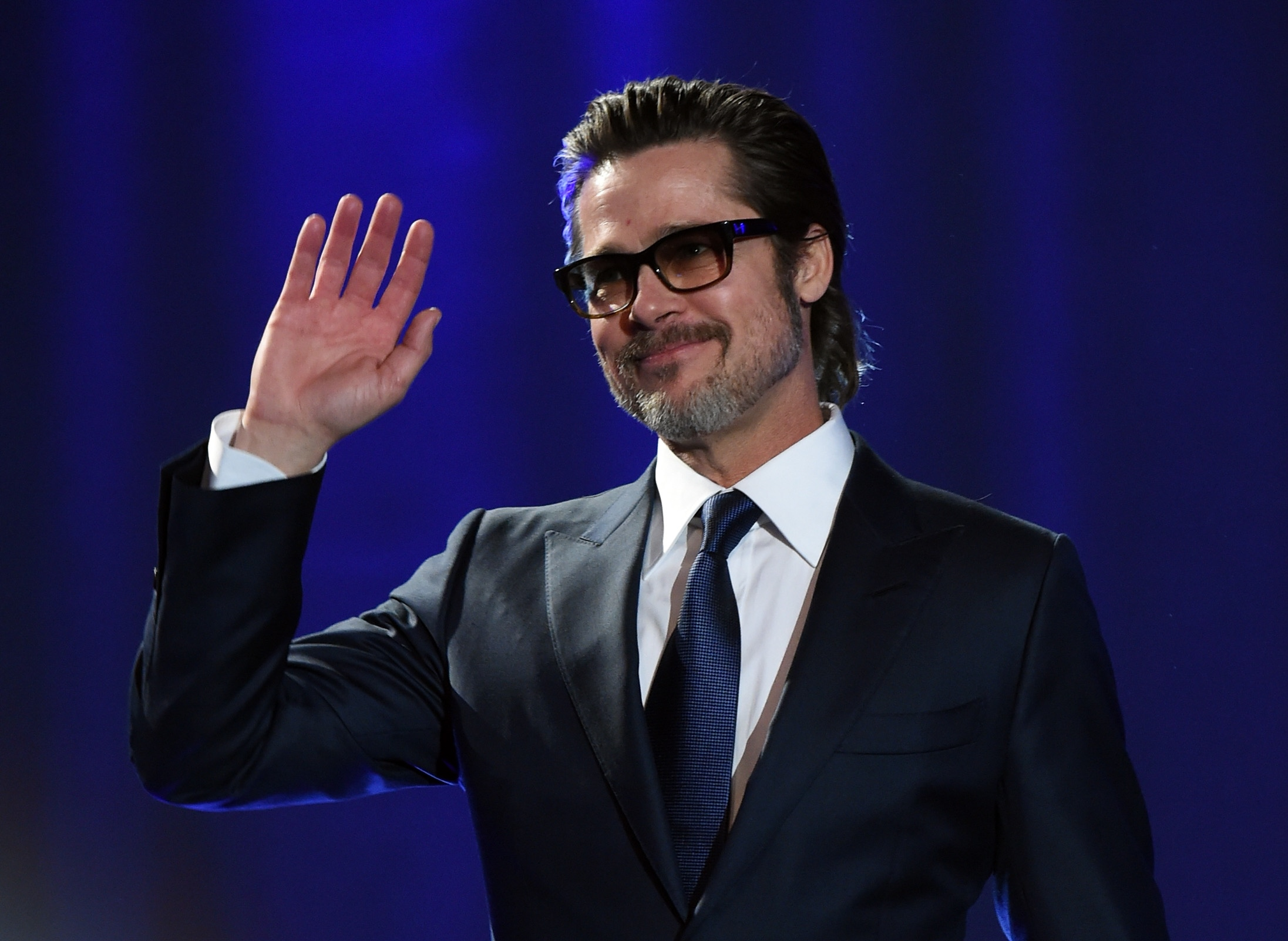 PALM SPRINGS, CA - JANUARY 03: Actor Brad Pitt speaks onstage during the 26th Annual Palm Springs International Film Festival Awards Gala at Palm Springs Convention Center on January 3, 2015 in Palm Springs, California. (Photo by Jason Merritt/Getty Images for PSIFF)