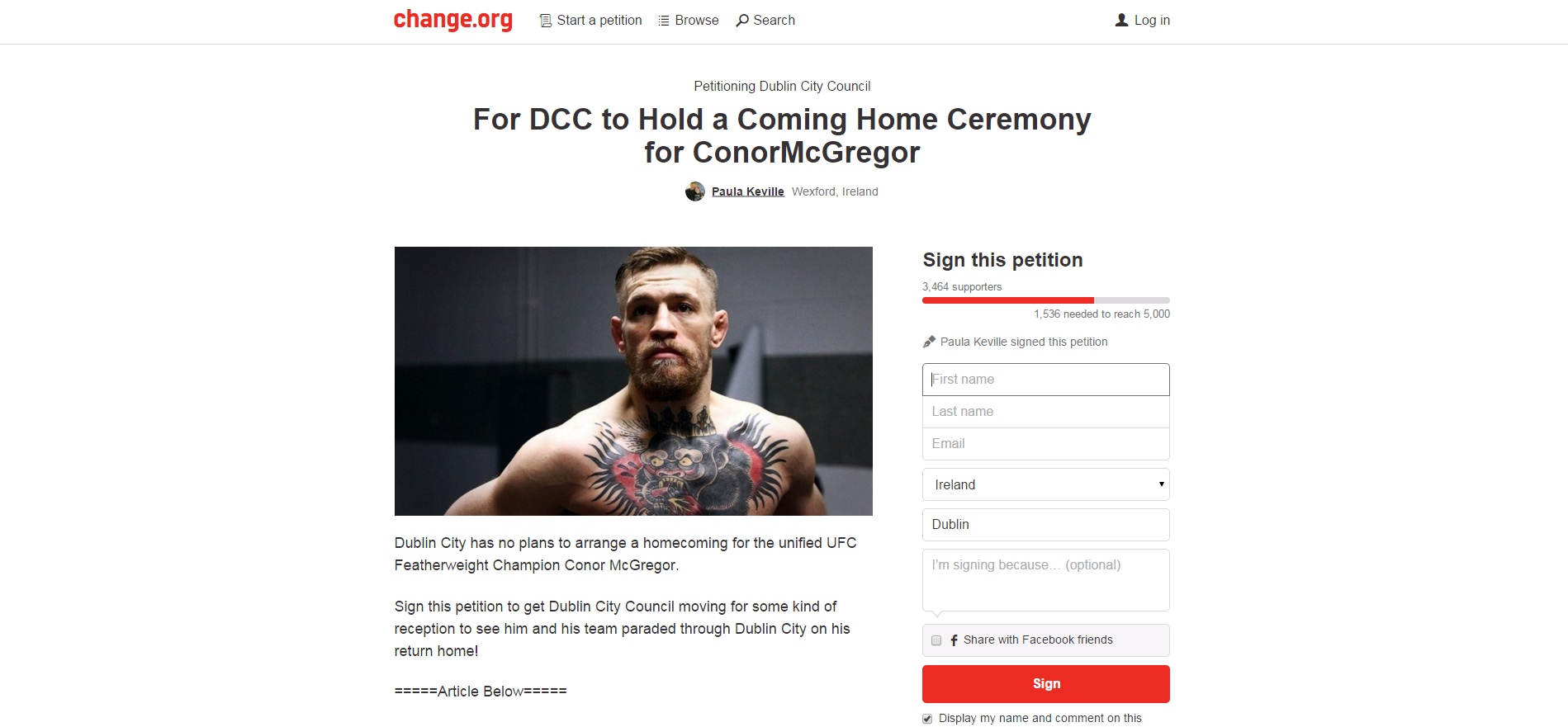 UFC petition Wexford woman 11