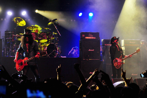 INDIO, CA - APRIL 20: (L-R) Musicians Slash and Mikkey Dee and Lemmy Kilmister of Motorhead perform onstage during day 3 of the 2014 Coachella Valley Music & Arts Festival at the Empire Polo Club on April 20, 2014 in Indio, California. (Photo by Frazer Harrison/Getty Images for Coachella)