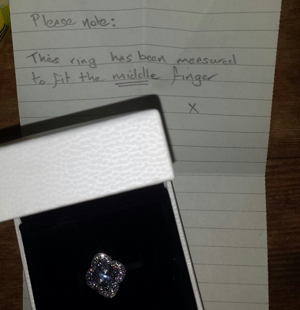 PIC Irish man includes note with t of a ring to his girlfriend