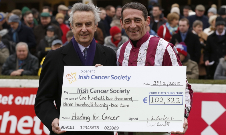 Repro Free: 29/12/2015 Jim Bolger and Davy Russell pictured on the last day of Leopardstown Christmas Festival announcing that they have raised over €400,000 to date with their Hurling for Cancer Research fundraiser, after the fourth annual event took place in August. For more information on the Irish Cancer Society's Research Programme or Hurling For Cancer Research please visit www.cancer.ie Picture Andres Poveda For further info contact: Donna Parsons Irish Cancer Society T: +353 1 2310 573 dparsons@irishcancer.ie