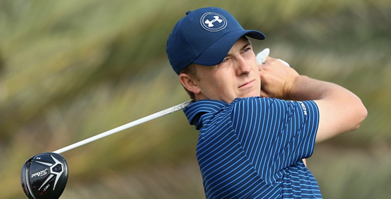 ABU DHABI, UNITED ARAB EMIRATES - JANUARY 23: Jordan Spieth of the USA in action during the continuation of the second round of the Abu Dhabi HSBC Golf Championship at the Abu Dhabi Golf Club on January 23, 2016 in Abu Dhabi, United Arab Emirates. (Photo by Andrew Redington/Getty Images)