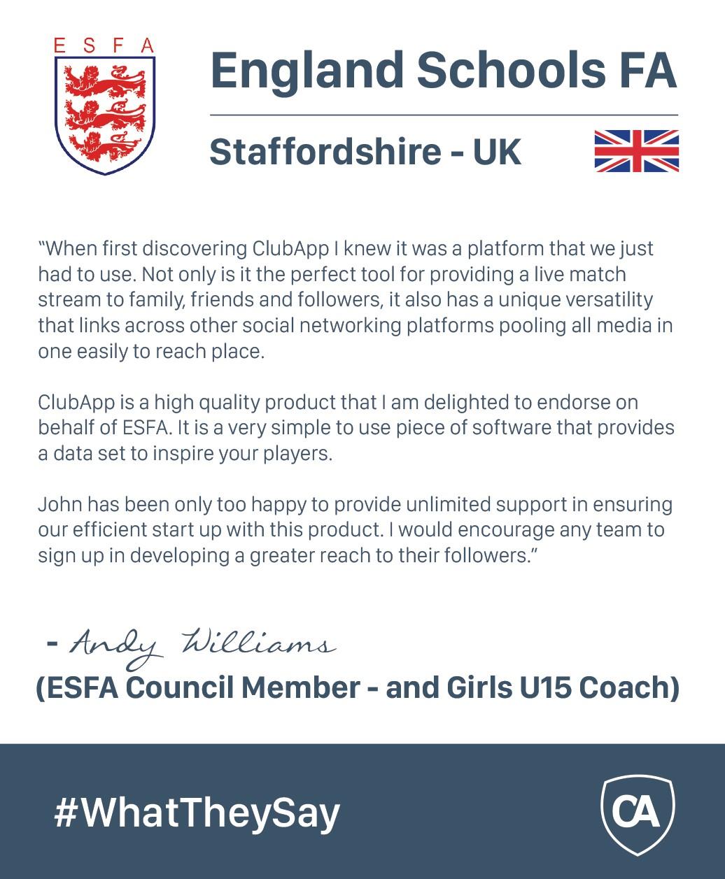 Club App Enlgish schools endorsement
