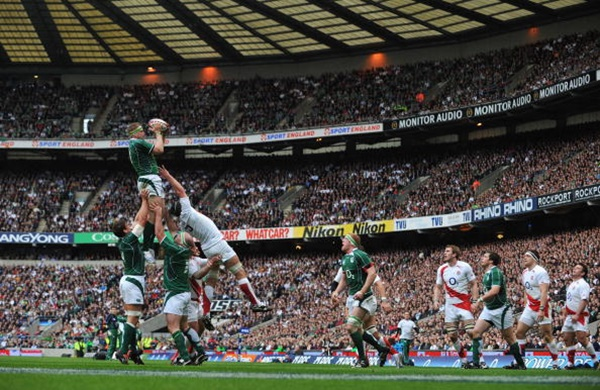 Jamie Heaslip jumps for the lineout ball during the Six Nations Championship match between England and Ireland at Twickenham on March 15, 2008