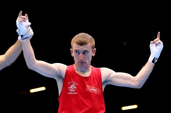 LONDON, ENGLAND - AUGUST 04: Paddy Barnes of Ireland celebrates his victory over Thomas Essomba of Cameroon during the Men's Light FLy (46-49kg) Boxing on Day 8 of the London 2012 Olympic Games at ExCeL on August 4, 2012 in London, England. (Photo by Scott Heavey/Getty Images)