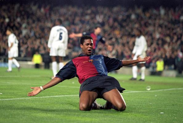 18 Apr 2000: Patrick Kluivert of Barcelona celebrates a goal during the UEFA Champions League quarter-final second leg against Chelsea at the Nou Camp in Barcelona, Spain. Barcelona won the match 5-1. Mandatory Credit: Ben Radford /Allsport