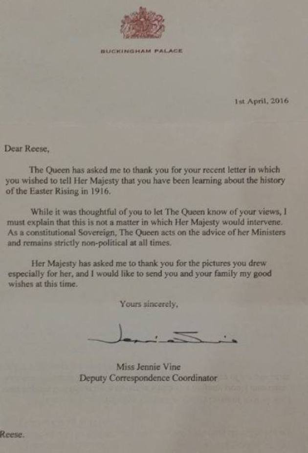 PIC This Young Irish Student Wrote To The Queen Asking