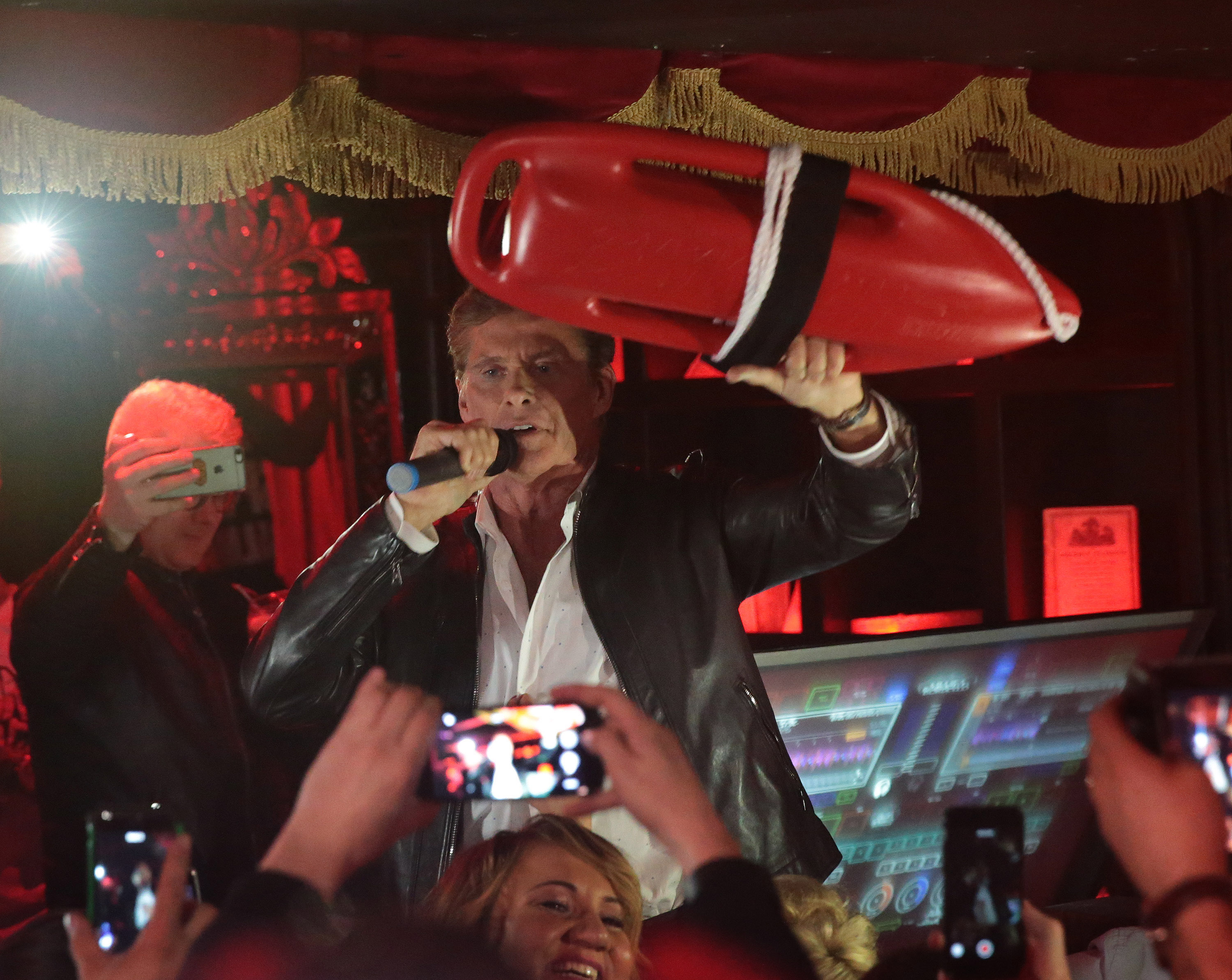 """David Hasselhoff takes to the mic and gives the packed crowd a rendition of the Baywatch Classic """"I'm Always Here"""". at The Gumball 3000 launch party at Ireland's Hippest Nightspot Lillies Bordello in Dublin Picture: Brian McEvoy no repro fee for one use The Hoff, DJ Afrojack, Grammy Award Winning Rapper Eve Party In Style at Gumball 3000 VIP Launch at Lillie's Bordello, Dublin Ireland's hippest hotspot Lillie's hosted the official VIP launch party on Saturday night, of the world's most famous motoring event as the 2016 Gumball 3000 rolled into the fair city. The Hoff- aka David Hasselhoff, celeb DJ Afrojack, Grammy Award winning rapper Eve and Gumball 3000 race founder Maximillion Cooper were among the celebrities partying at Lillie's Bordello, Dublin over the weekend. The Hoff took to the mic and gave the packed crowd a rendition of the Baywatch Classic """"I'm Always Here"""". The cars were paraded in Merrion Square at high noon on Saturday 30th April. Before the race began on Sunday 1st May as the flag came down as the competitors drove to Edinburgh via Belfast to begin a 3000-mile journey across Europe to the edge of Asia. Twitter: @lilliesdublin #LilliesDublin Facebook: facebook.com/lilliesdublin Instagram: @lilliesdublin Editors Notes 30 nationalities are represented driving 120 incredible vehicles from vintage classics to modern day hypercars including Pagani, Bugatti, Ferrari, Lamborghini, Porsche, Aston Martin, Koenigsegg, Jaguar, Bentley and Rolls Royce. 100 million followers on social media and 60 million television viewers will be glued to the action as the 2016 Gumball 3000 rally traverses across two continents and over a dozen countries."""