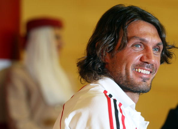 DUBAI, UNITED ARAB EMIRATES - DECEMBER 30: AC Milan Captain Paolo Maldini answers questions at a press conference on December 30, 2008 in Dubai, United Arab Emirates. (Photo by Satish Kumar/Getty Images)
