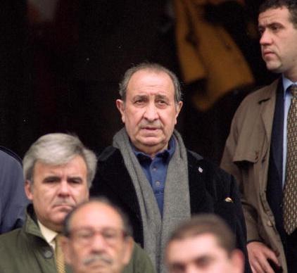 16 Apr 2000: Atletico Madrid President Jesus Gil during the Primera Liga match against Malaga at the Vicente Calderon Stadium in Madrid, Spain. Picture by Nuno Correia. Mandatory Credit: Allsport UK /Allsport