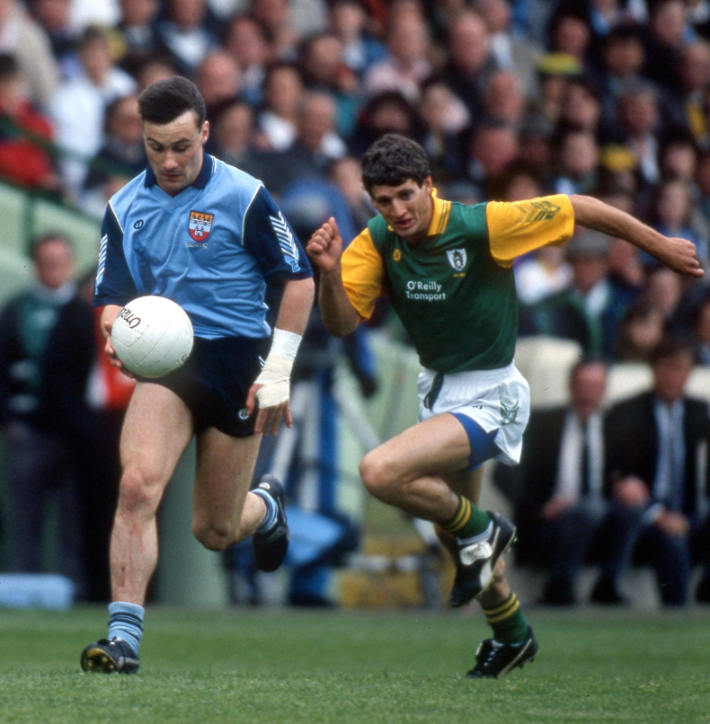All Ireland Leinster Senior Football Championship Semi-Final 1991 Dublin vs Meath Dublin's Paul Curran with Terry Ferguson of Meath Mandatory Credit ©INPHO