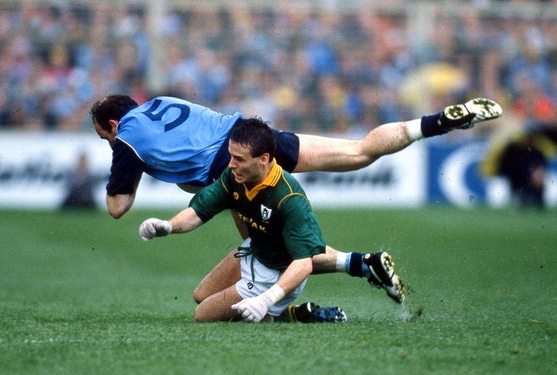 All Ireland Leinster Senior Football Championship Semi-Final Second Replay 23/6/1991 Dublin vs Meath Dublin's Tommy Carr with Bernard Flynn of Meath Mandatory Credit ©INPHO
