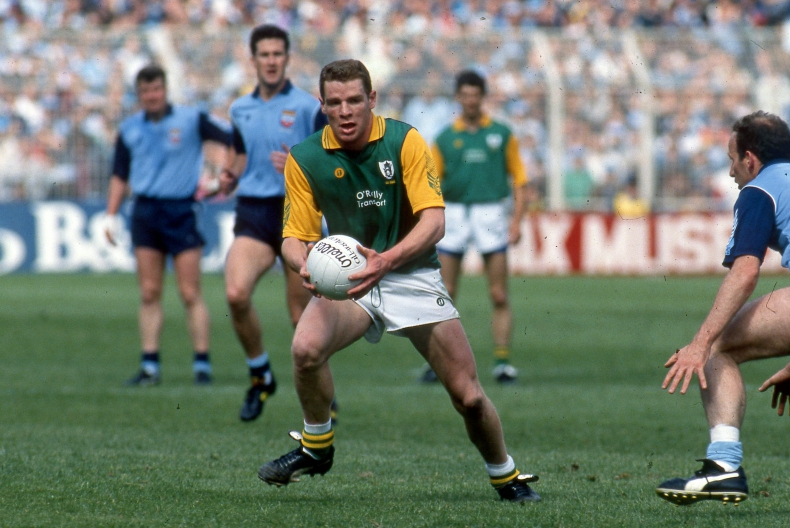 All Ireland Leinster Senior Football Championship Semi-Final 1991 Dublin vs Meath Meath's Tommy Dowd with Tommy Carr of Dublin Mandatory Credit ©INPHO