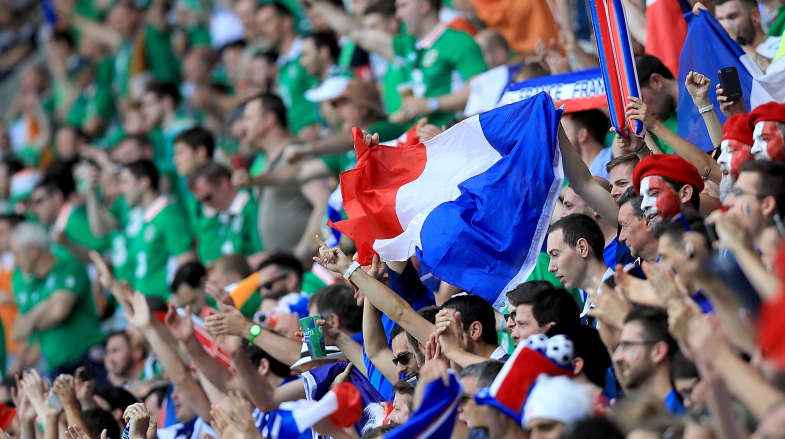 2016 UEFA European Championship Round Of 16, Parc Olympique Lyonnais, Lyon, France 26/6/2016 Republic of Ireland vs France Ireland and France fans Mandatory Credit ©INPHO/Donall Farmer