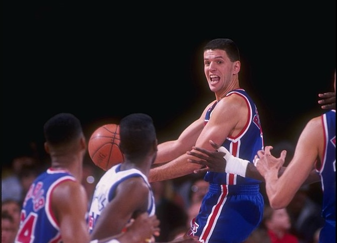 Guard Drazen Petrovic of the New Jersey Nets moves the ball during a game against the Denver Nuggets at the Byrne Meadowlands Arena in East Rutherford, New Jersey.