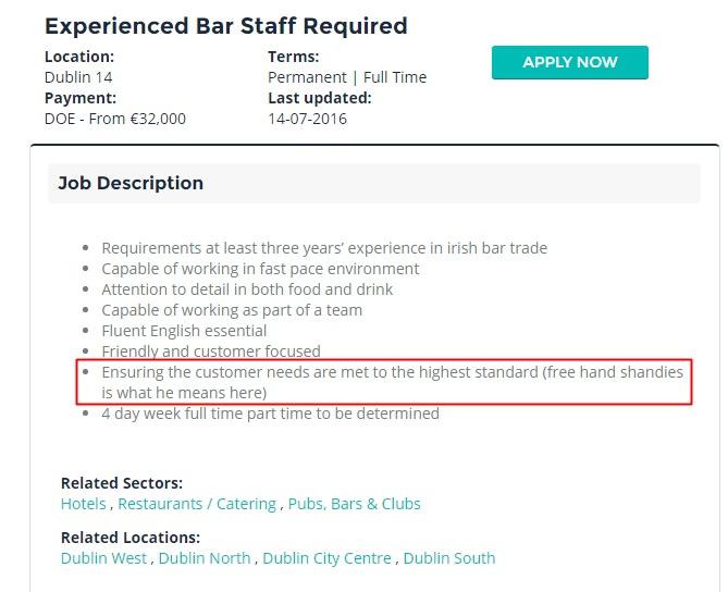 bar staff job description
