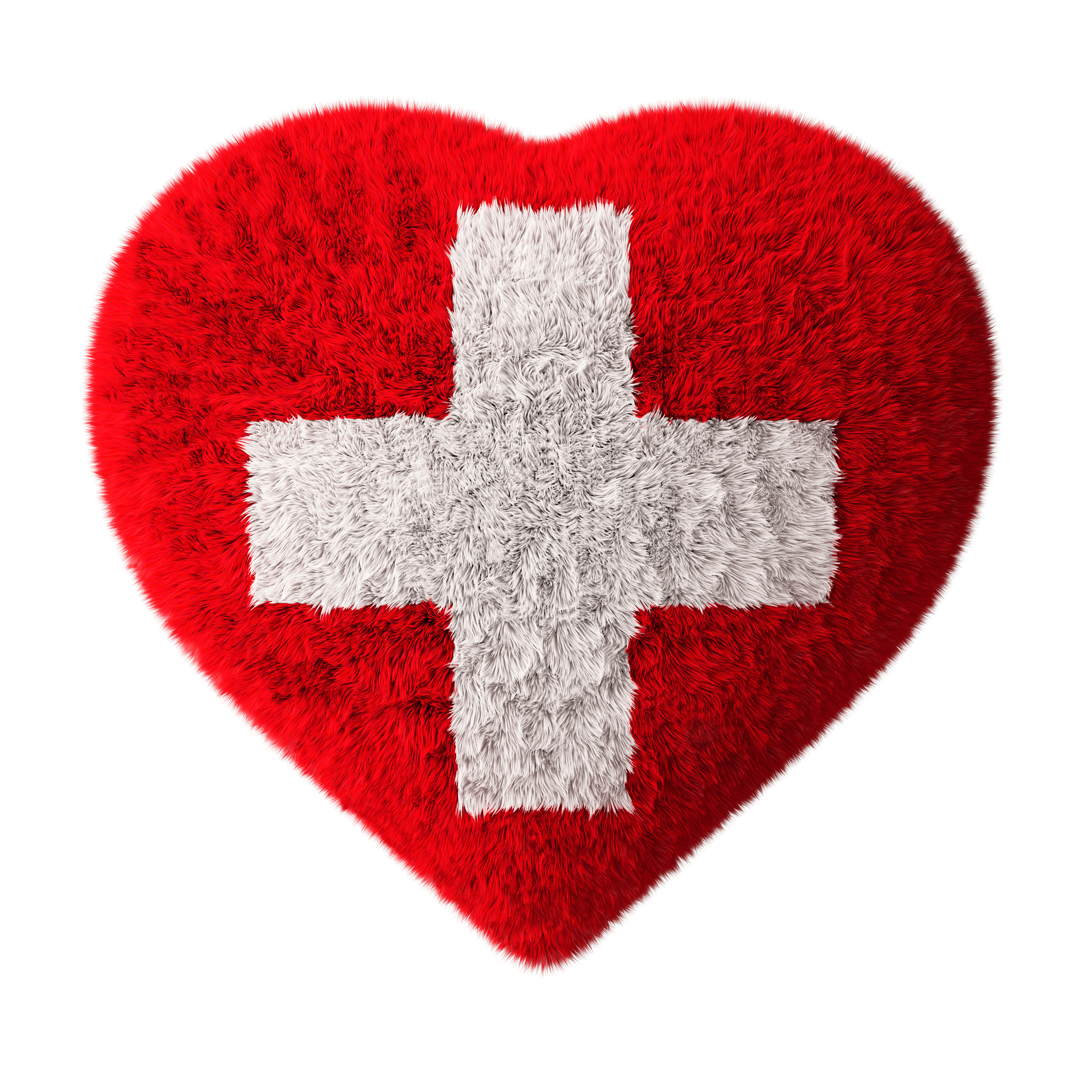 Flag of Switzerland - Fluffy Heart - First aid. Isolated on white.