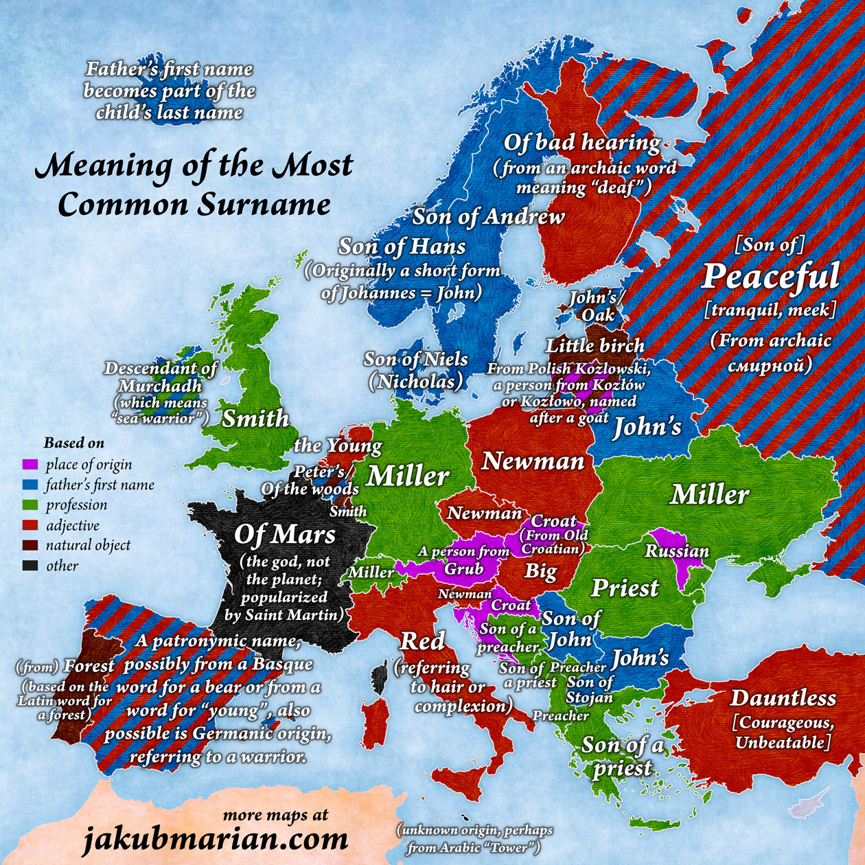 pic this map shows the most common surname in every country in