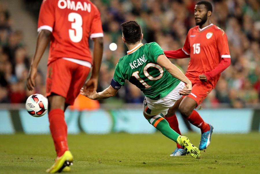 Three International Friendly, Aviva Stadium, Dublin 31/8/2016 Republic of Ireland vs Oman Ireland's Robbie Keane scores the second goal of the game  Mandatory Credit ©INPHO/Ryan Byrne