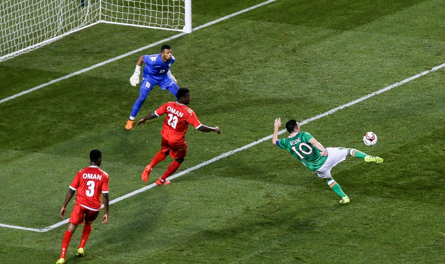 Three International Friendly, Aviva Stadium, Dublin 31/8/2016 Republic of Ireland vs Oman Ireland's Robbie Keane scores his sides second goal Mandatory Credit ©INPHO/Gary Carr