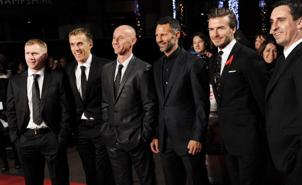 """LONDON, UNITED KINGDOM - DECEMBER 01: (L-R) Paul Scholes, Phil Neville, Nicky Butt, Ryan Giggs, David Beckham and Gary Neville attend the World premiere of """"The Class of 92"""" at Odeon West End on December 1, 2013 in London, England. (Photo by Stuart C. Wilson/Getty Images)"""