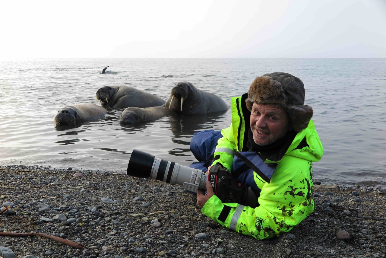 Doug Allan with walrus low res IMG_0229 copy (1)