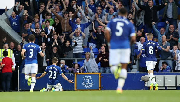 LIVERPOOL, ENGLAND - SEPTEMBER 17: Seamus Coleman of Everton celebrates scoring during the Premier League match between Everton and Middlesbrough at Goodison Park on September 17, 2016 in Liverpool, England. (Photo by Lynne Cameron/Getty Images)