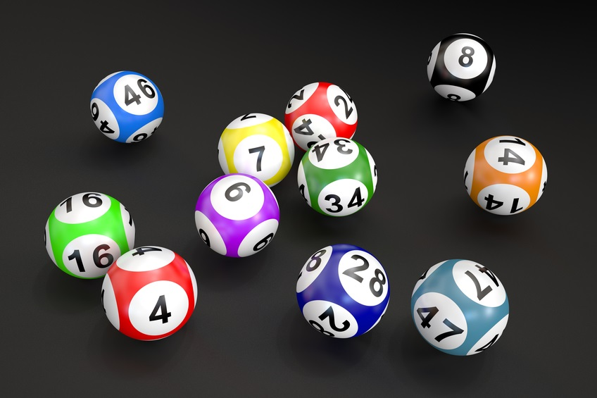 lottery balls isolated on black background