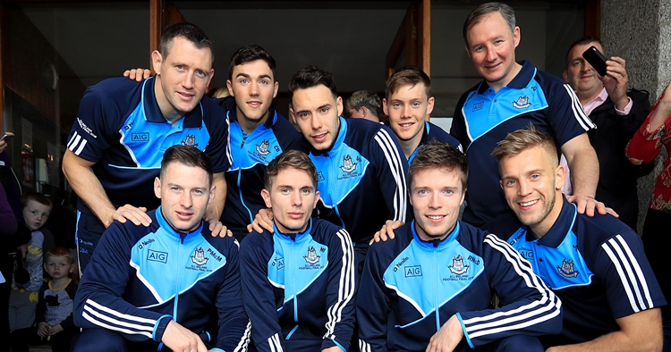 Dublin Senior Footballers Visit Crumlin Children's Hospital, Crumlin, Dublin 2/10/2016 Ciara Hutchings, aged five month's, with members of The Dublin senior football team and manager Jim Gavin Mandatory Credit ©INPHO/Donall Farmer