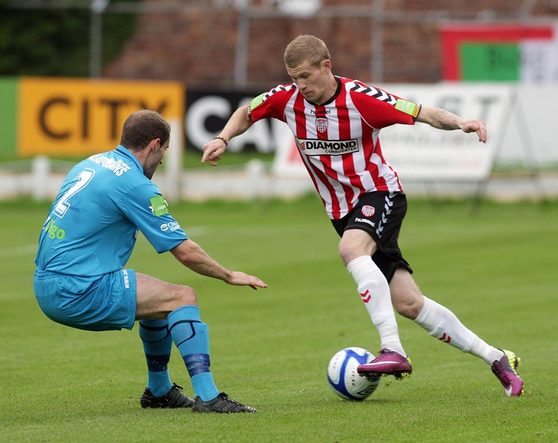 Airtricty League Premier Division, Brandywell 21/6/2011 Derry City vs Sligo Rovers Derry's James McClean and Sligo's Alan Keane Mandatory Credit ©INPHO/Presseye/Lorcan Doherty