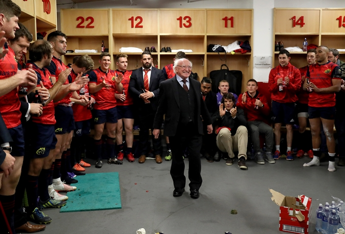 European Rugby Champions Cup Round 2, Thomond Park, Limerick 22/10/2016 Munster vs Glasgow Warriors President Michael D. Higgins visits the Munster dressing room after the game Mandatory Credit ©INPHO/Dan Sheridan