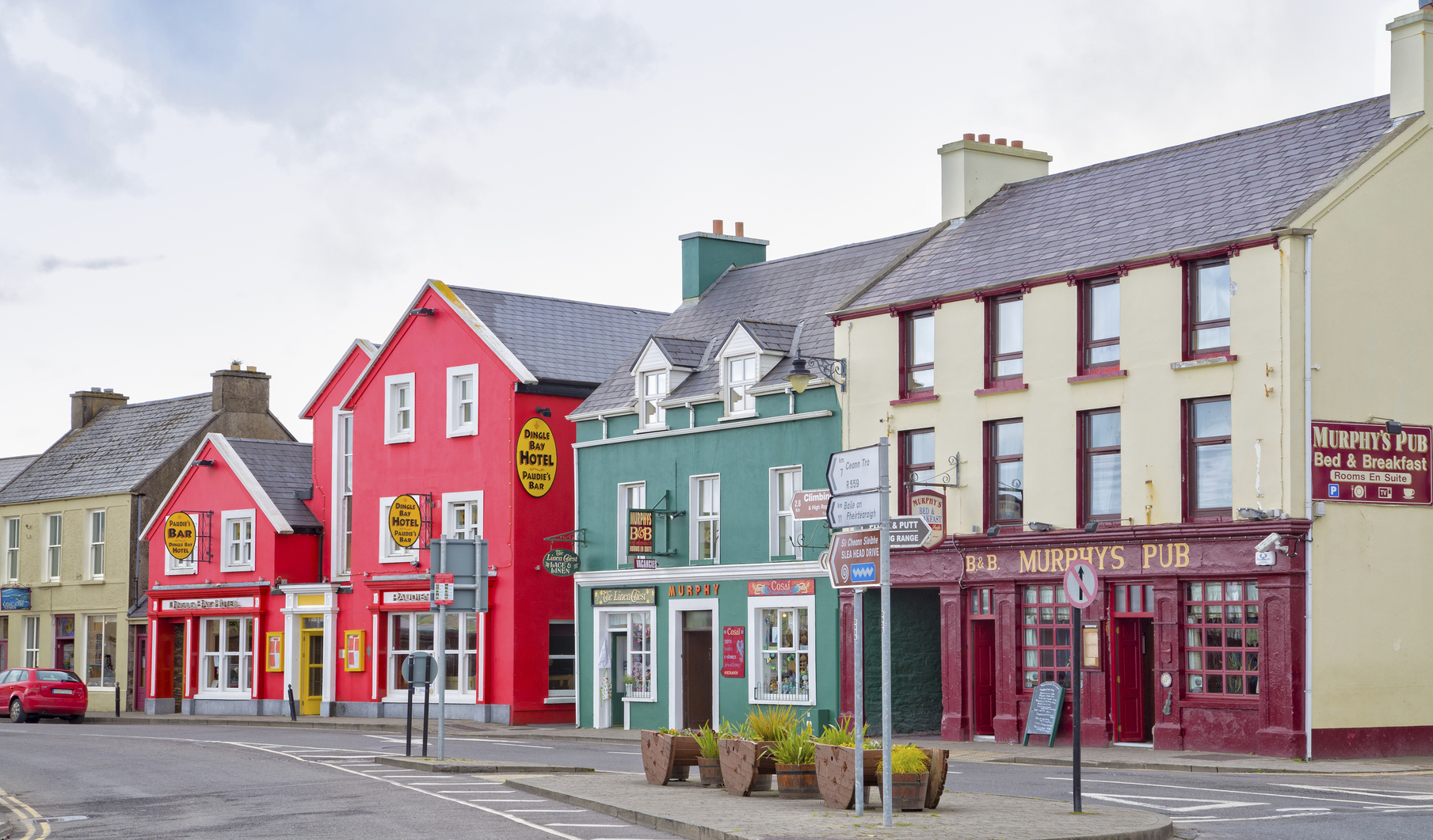 Row of colorful buildings in Dingle, Ireland