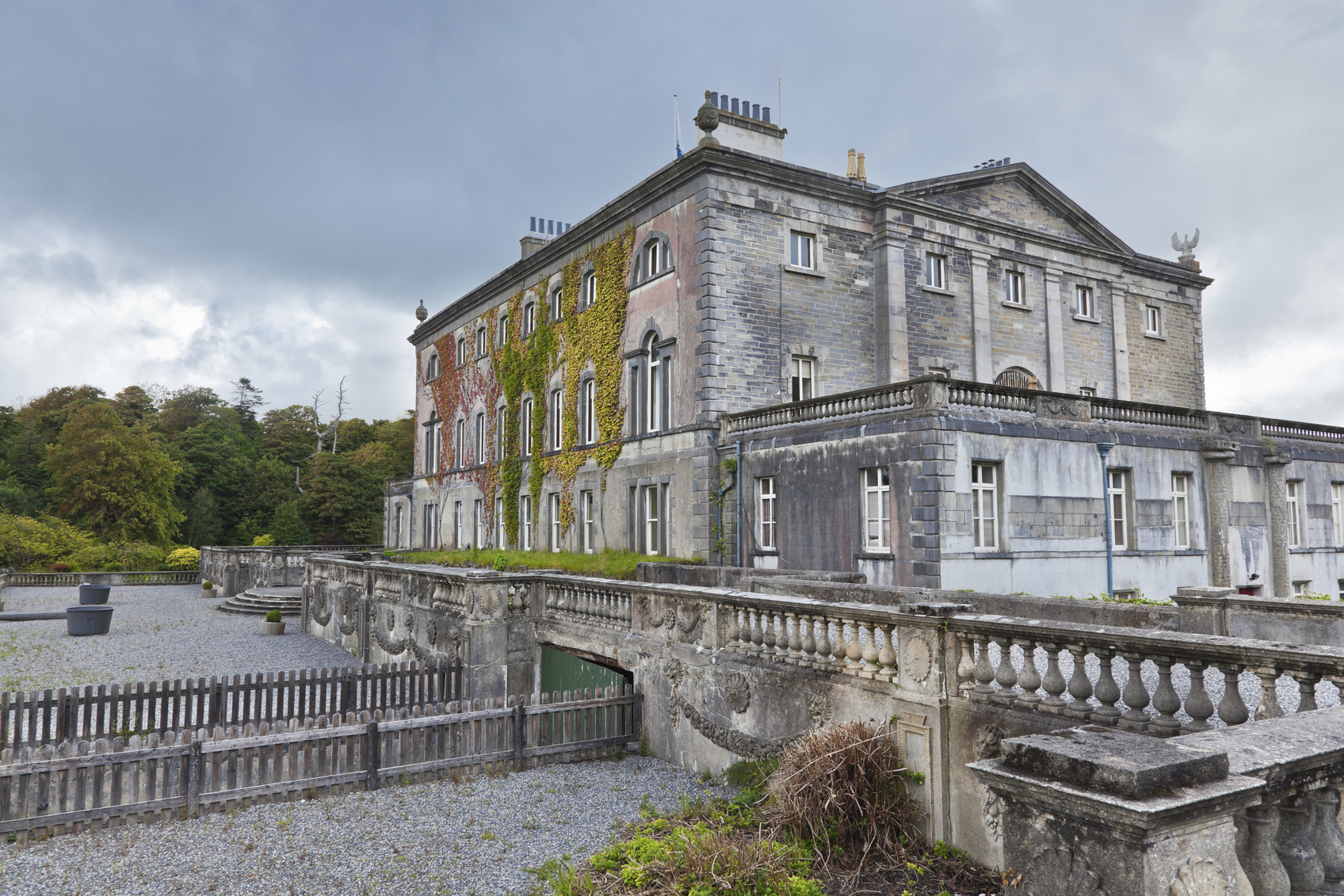 Side view of Westport house, county Mayo, Ireland.