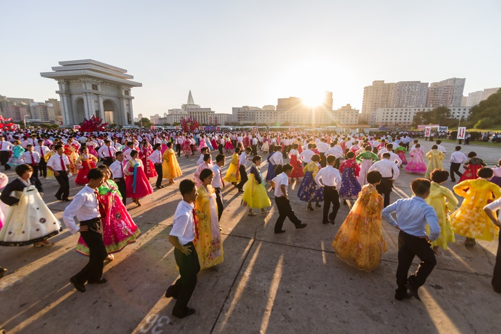 Pyongyang, North Korea - Sep 09, 2014: Students performing a public Youth mass dance in central Pyongyang on National Day.