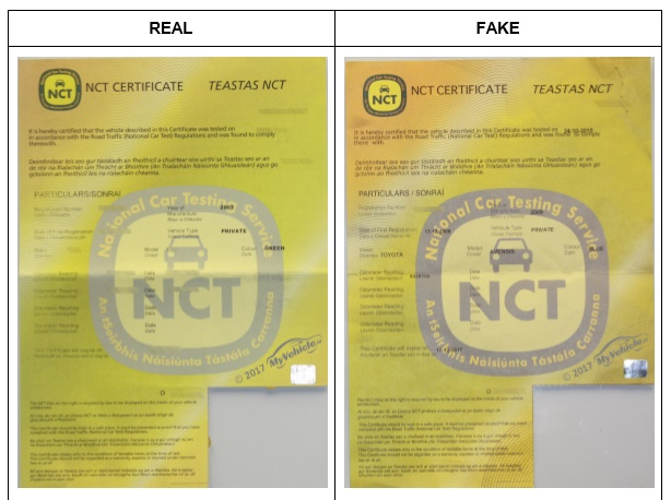 PICS: Motorists warned to beware of NCT scam doing the rounds in