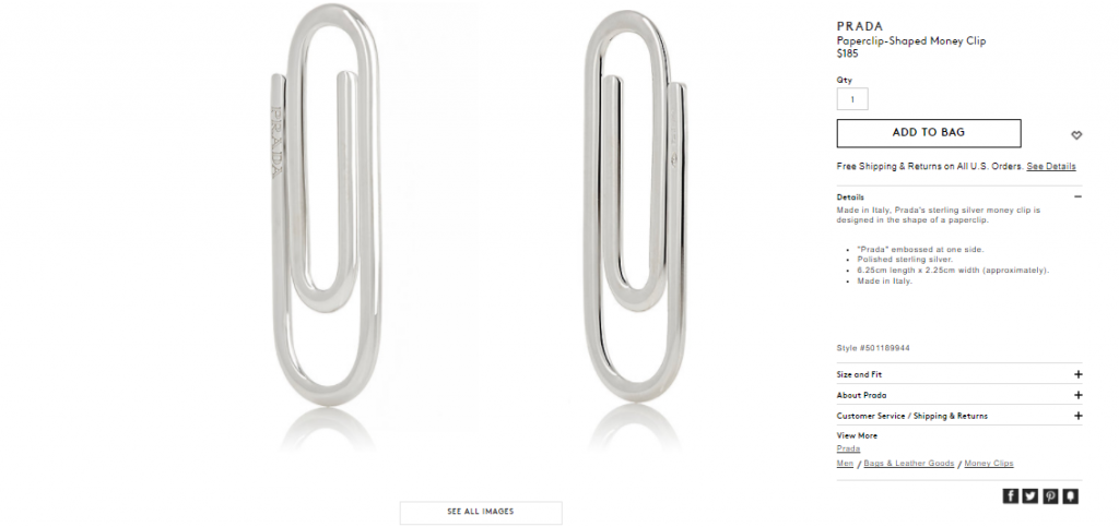 pics  prada is selling a paper clip for  185 and twitter