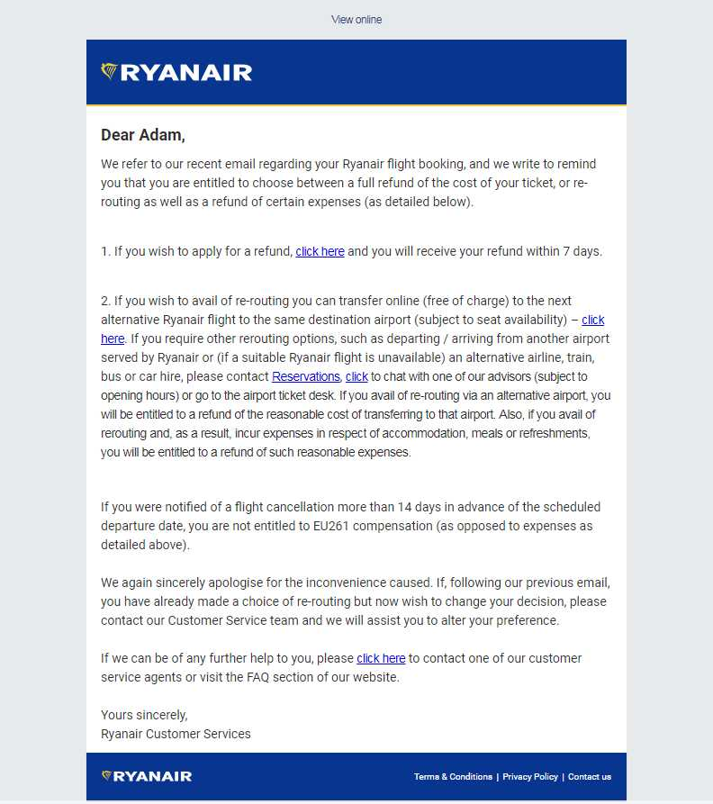 Ryanair outline details on alternative arrangements for passengers affected by flight cancellations