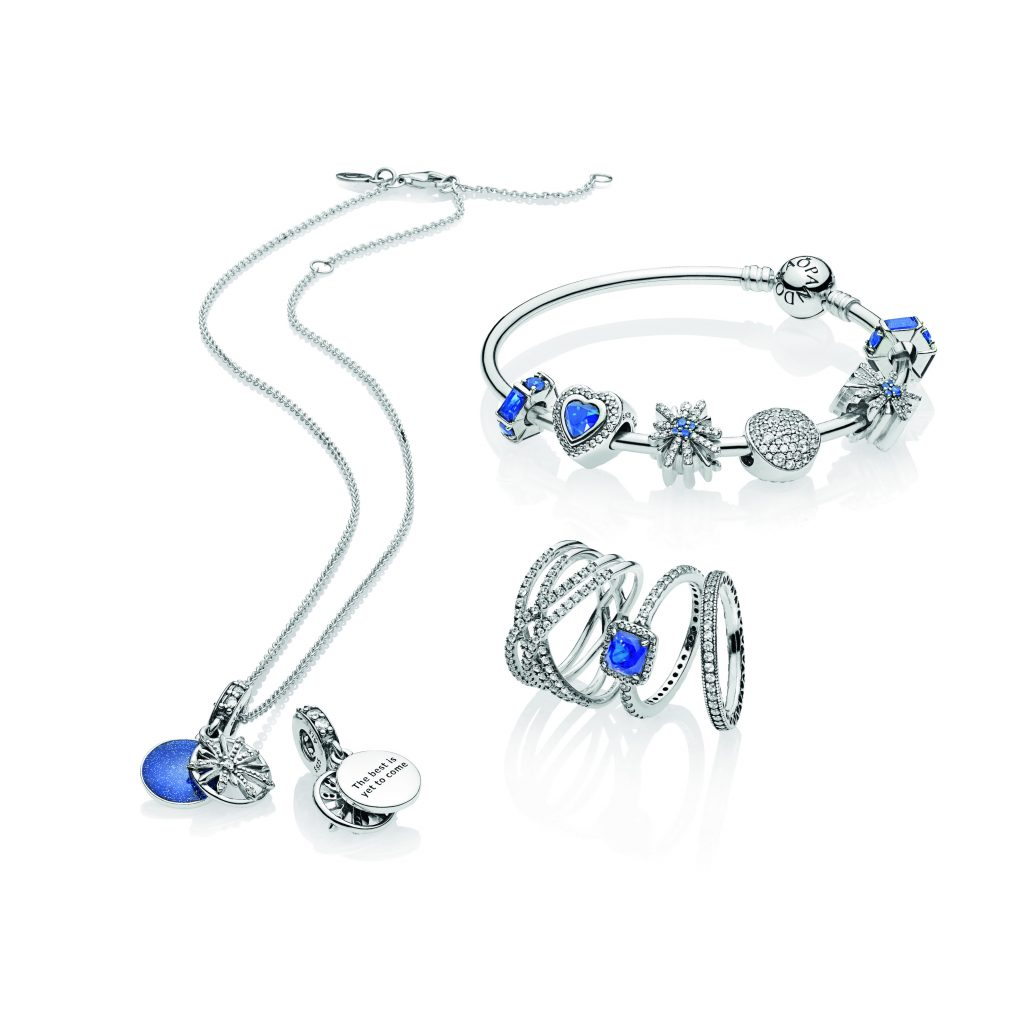 52fa18381 Dazzling Fireworks Necklace & Pendant, €94, Silver Bangle Bracelet, €59  with charms from €39, Blue Timeless Elegance Ring, €69 and Cosmic Lines  Ring, €119