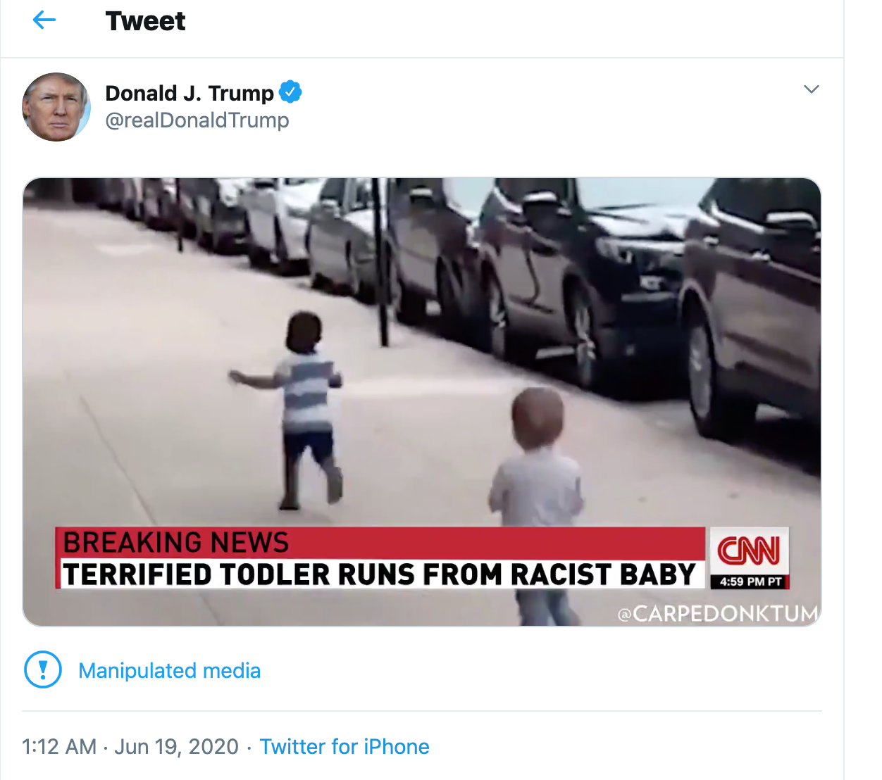 Twitter Flags Video Shared By Trump As 'Manipulated Media'